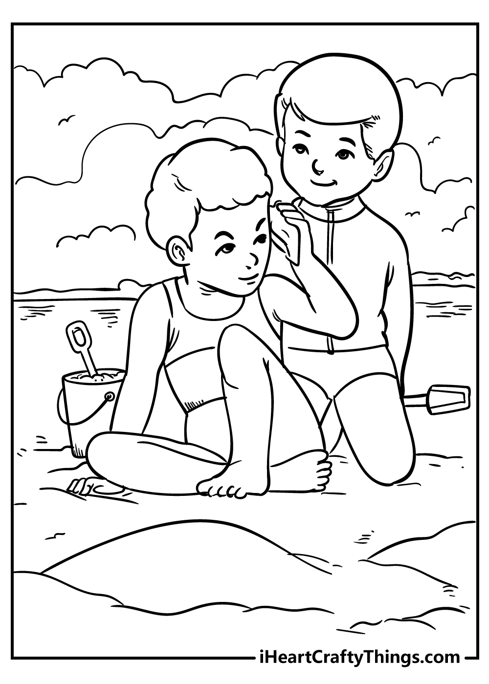 boys on the beach coloring pages free download