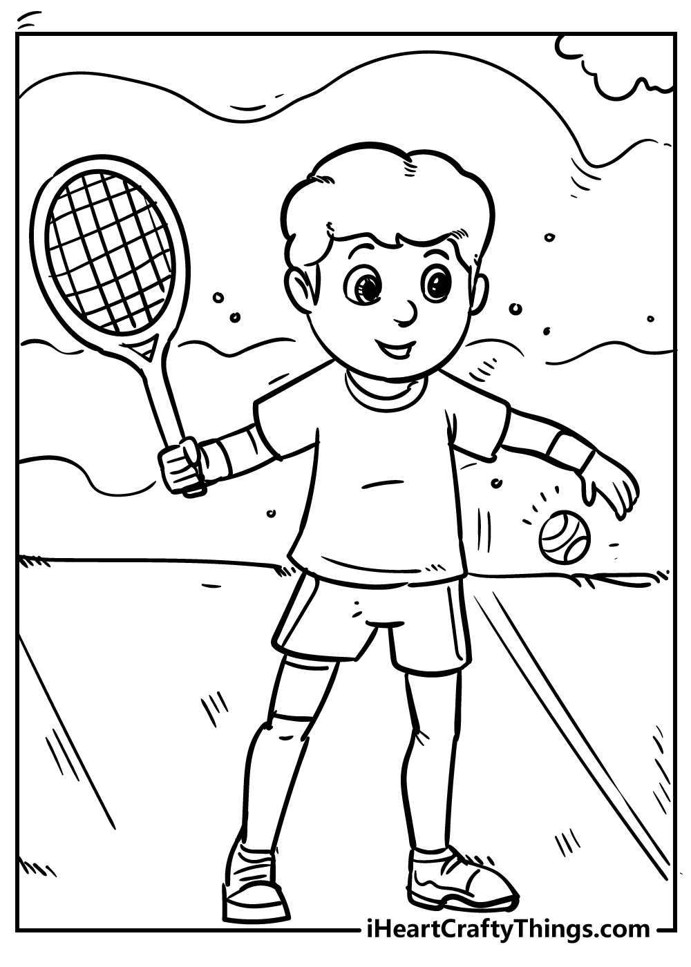 boy playing tennis coloring pages free printable