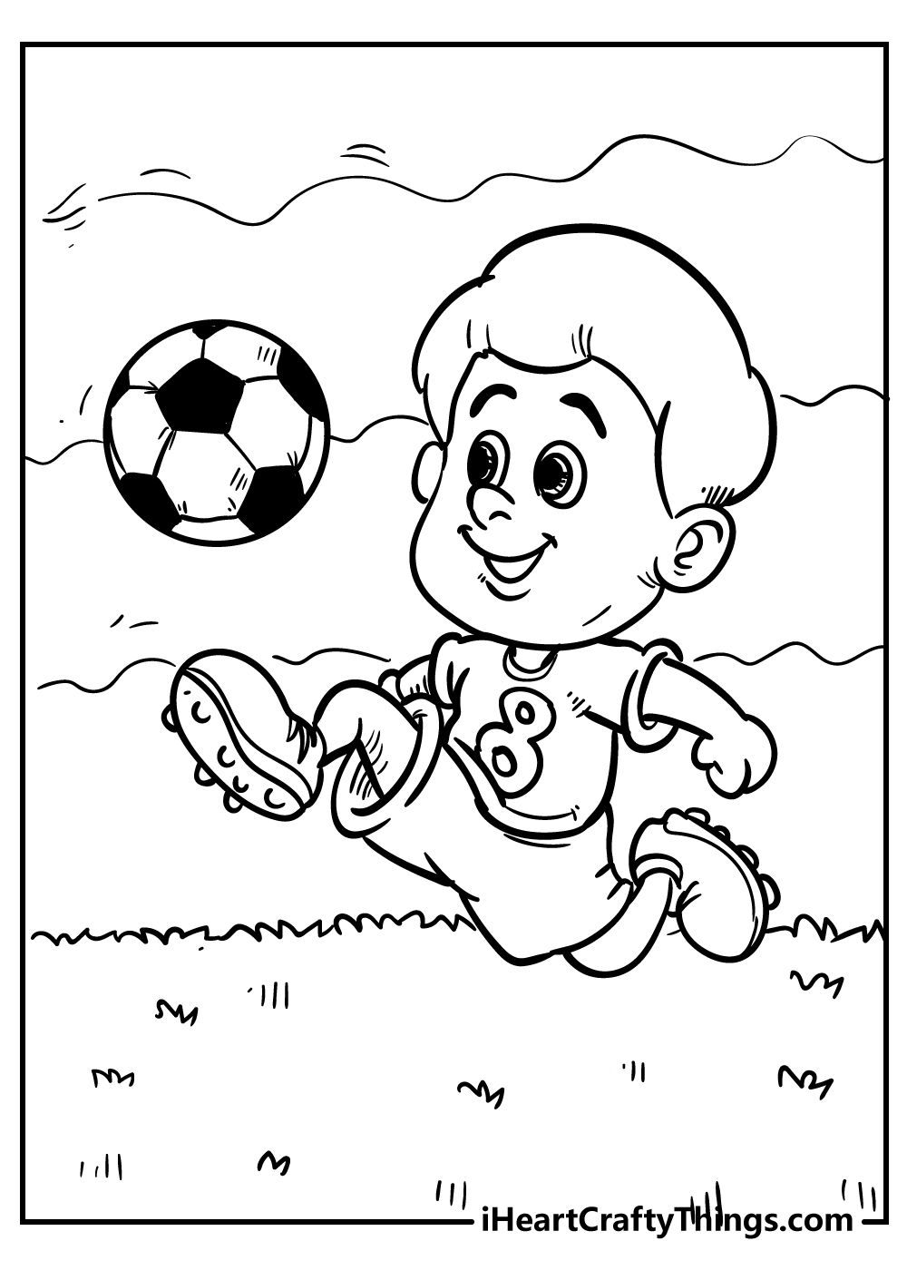 boy playing football coloring pages free download