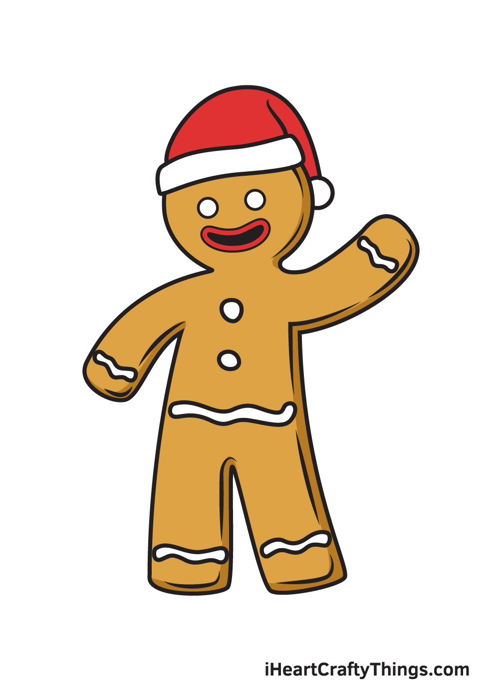 gingerbread man drawing 9 steps