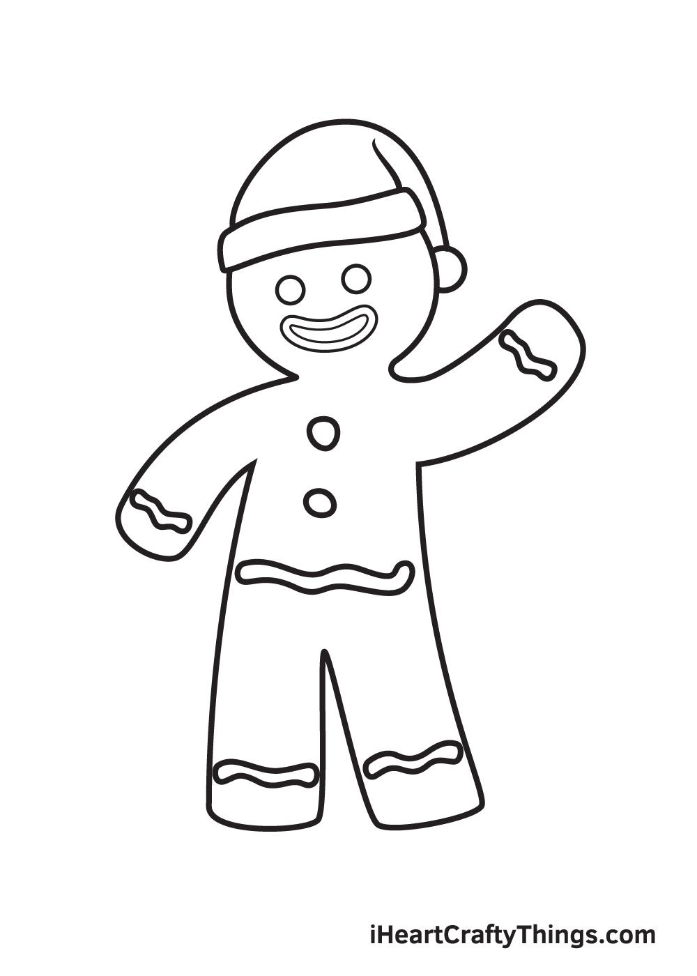 gingerbread man drawing step 8