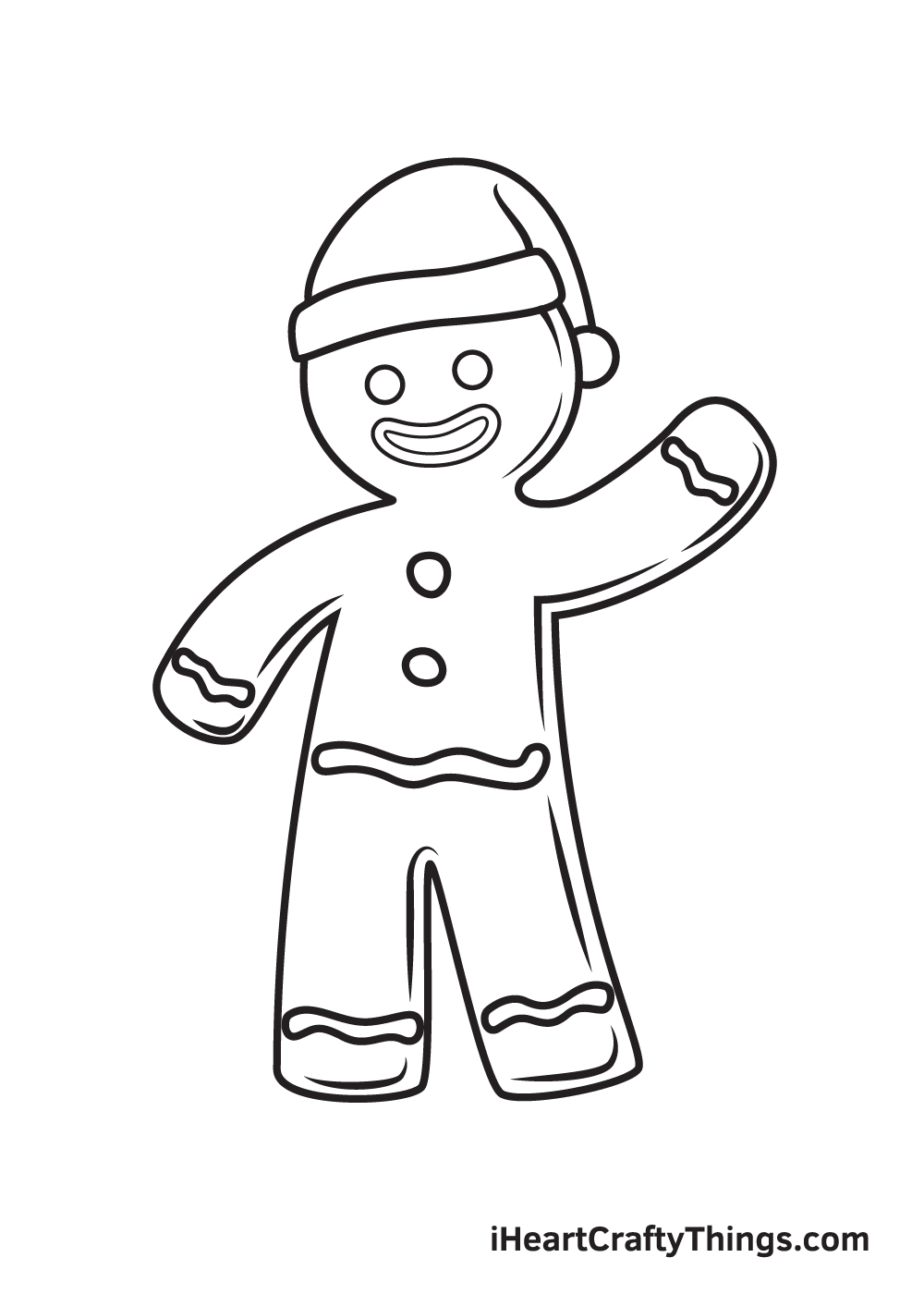 gingerbread man drawing step 9