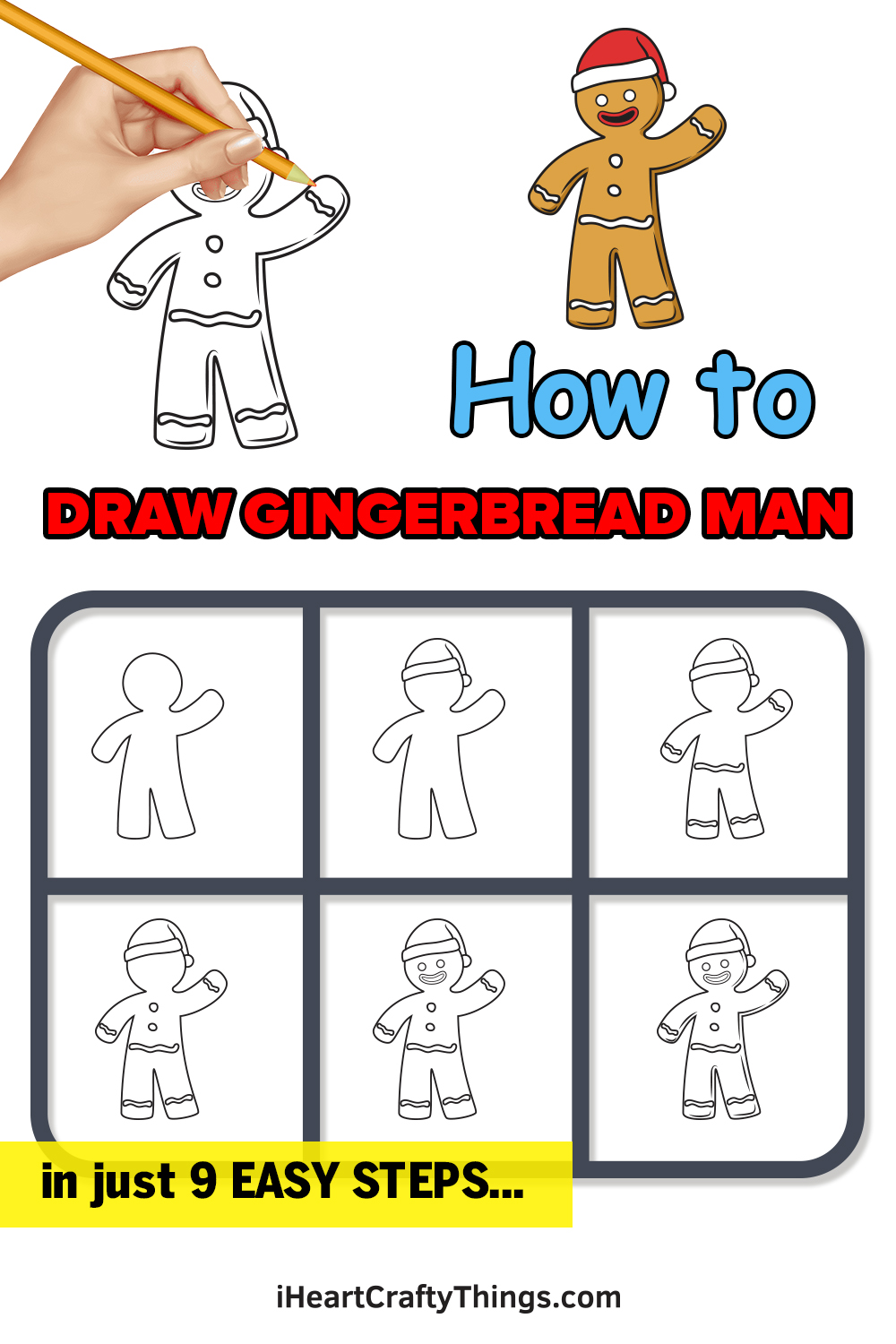 how to draw gingerbread man in 9 easy steps