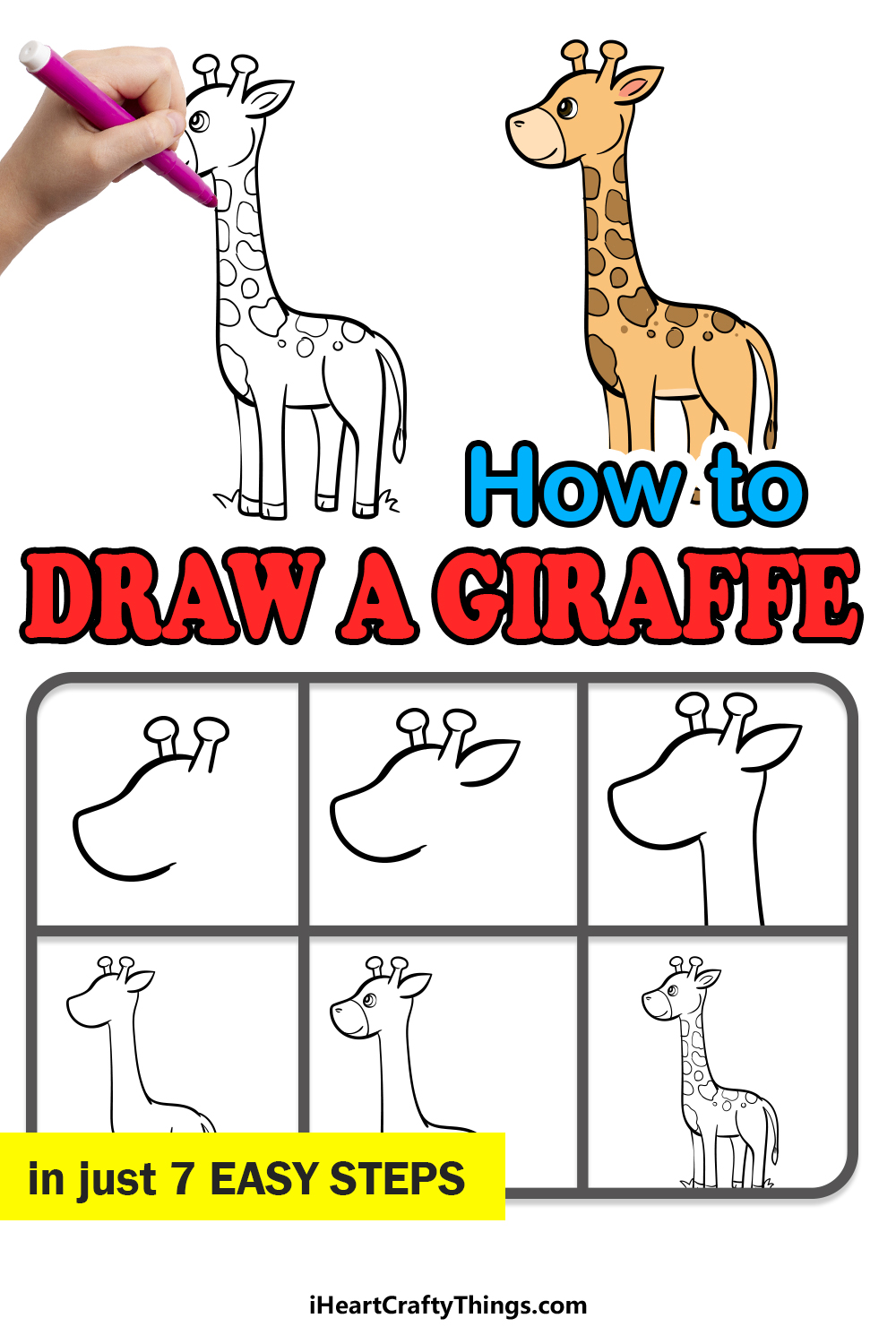 how to draw a giraffe in 7 easy steps