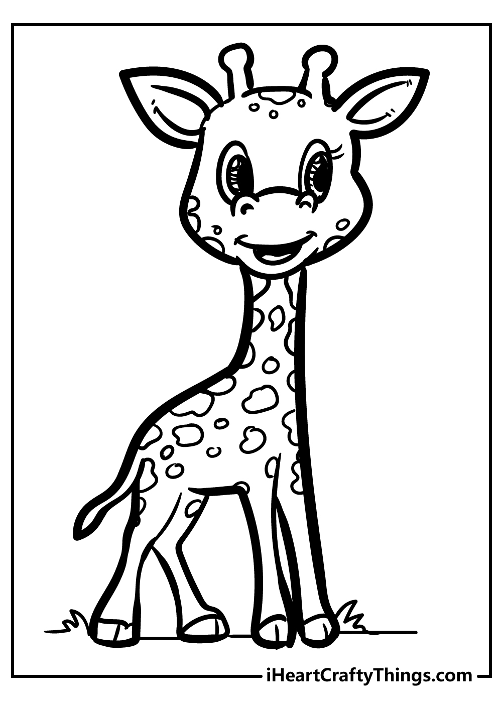 easy giraffe coloring pages free download
