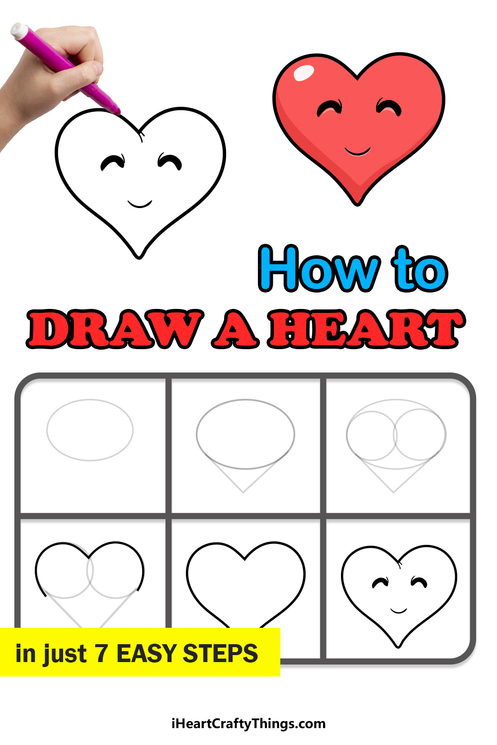 how to draw a heart in 7 easy steps
