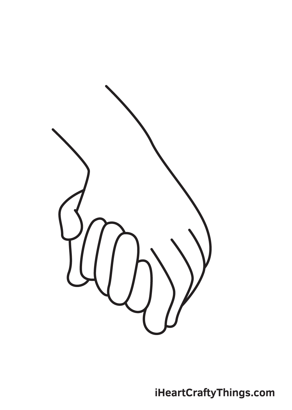 holding hands drawing step 7