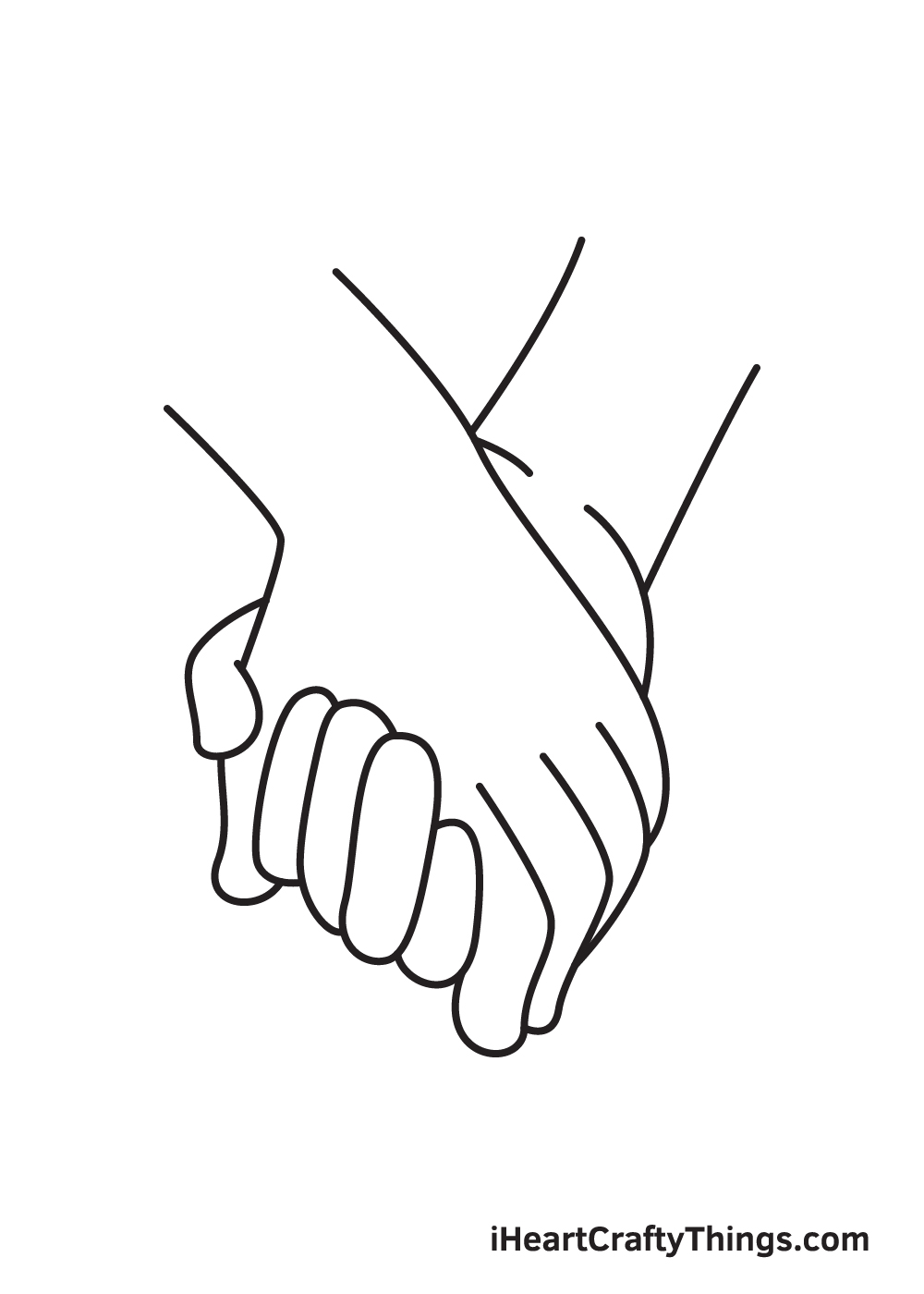 holding hands drawing step 8