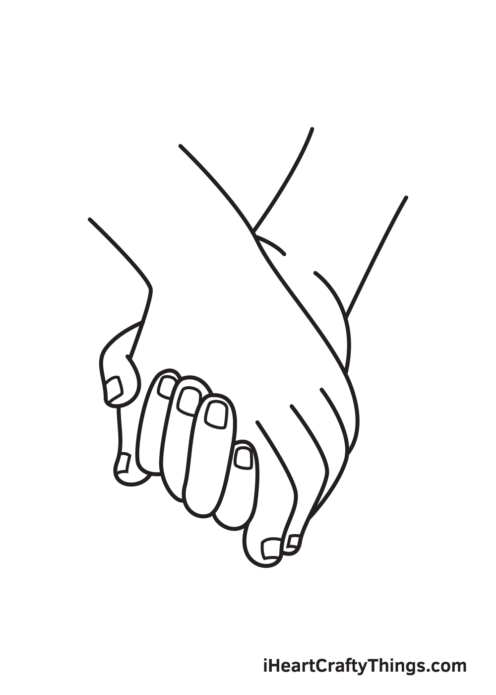 holding hands drawing step 9