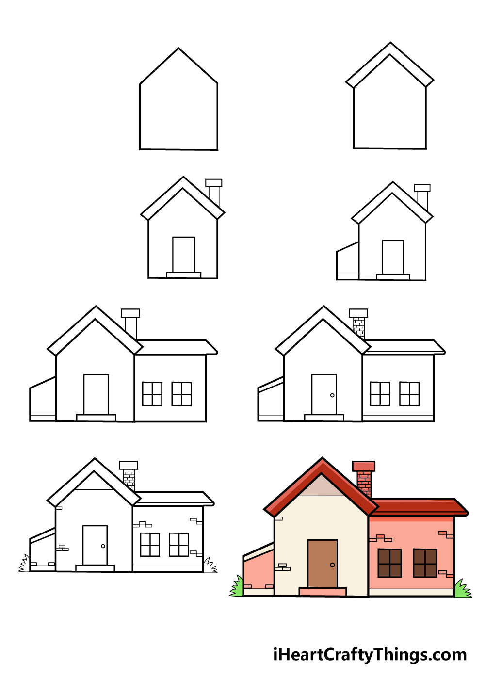 how to draw house in 8 steps