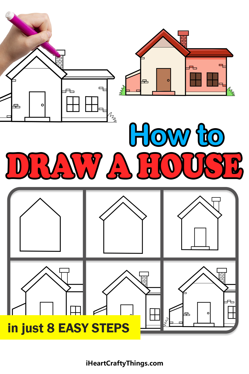 how to draw a house in 8 easy steps