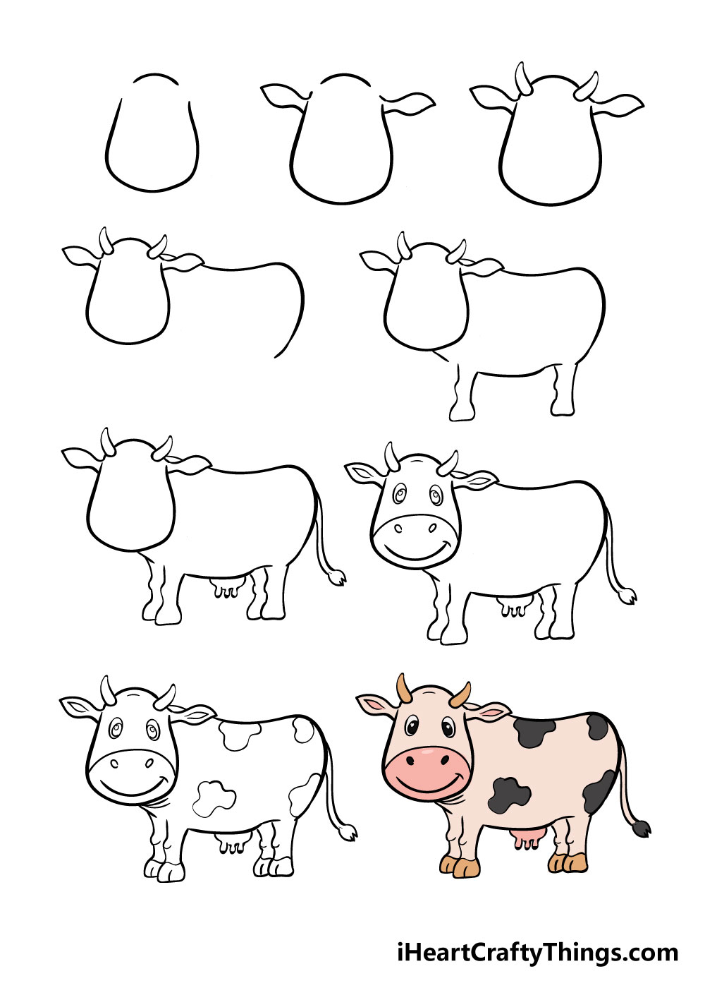 how to draw cow in 9 steps