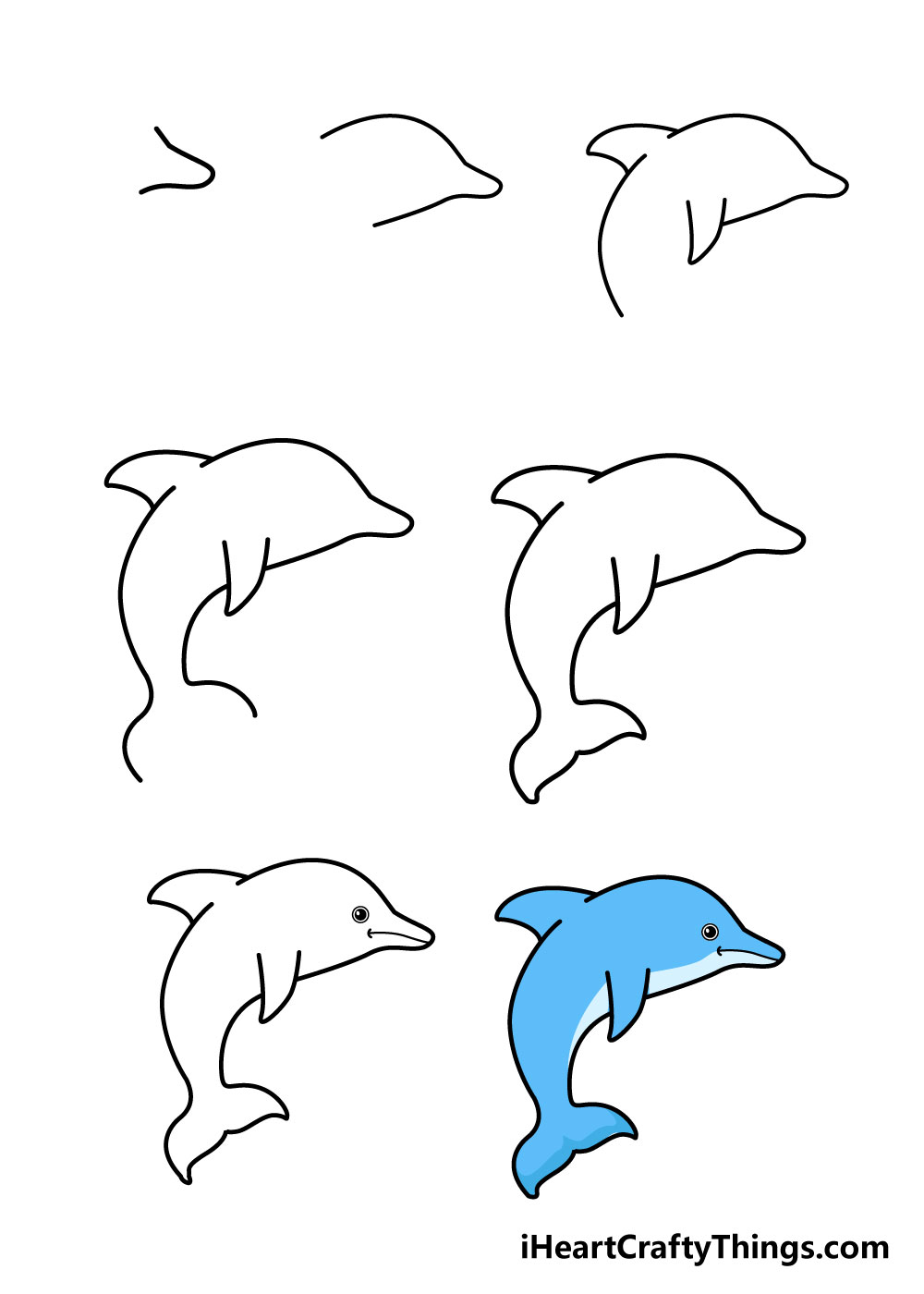 how to draw dolphin in 7 steps