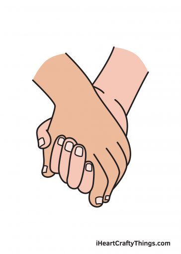 how to draw holding hands image