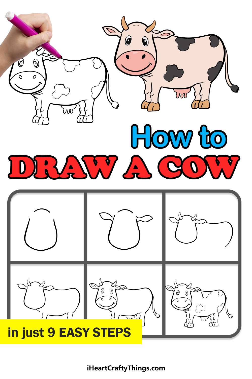 how to draw a cow in 9 easy steps