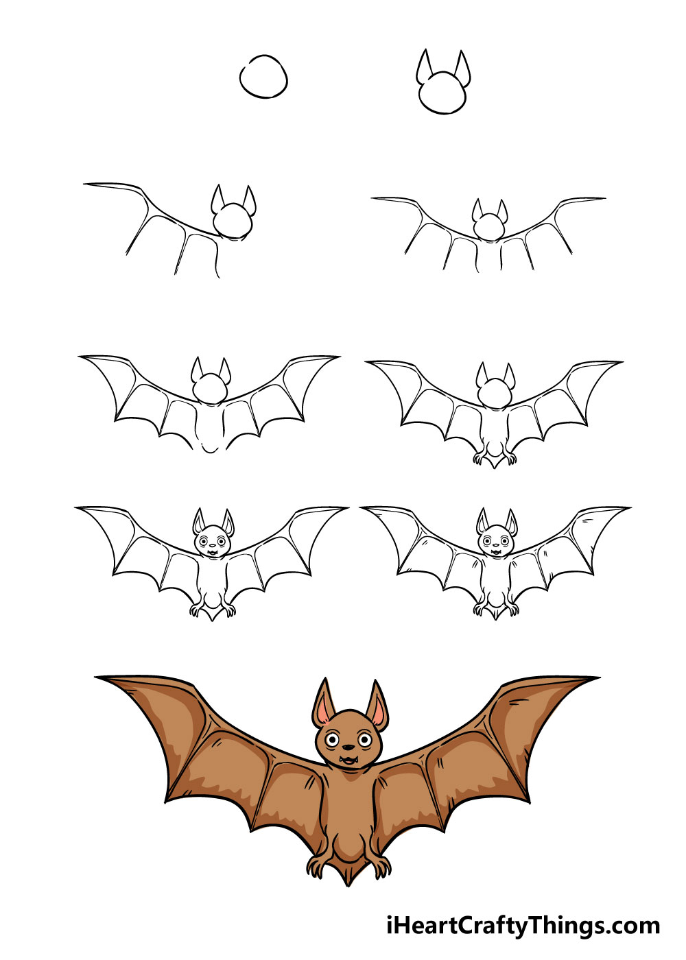 how to draw bat in 9 steps