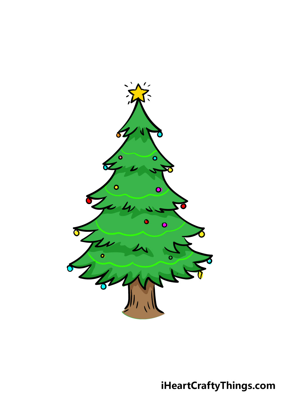 christmas tree drawing step 8