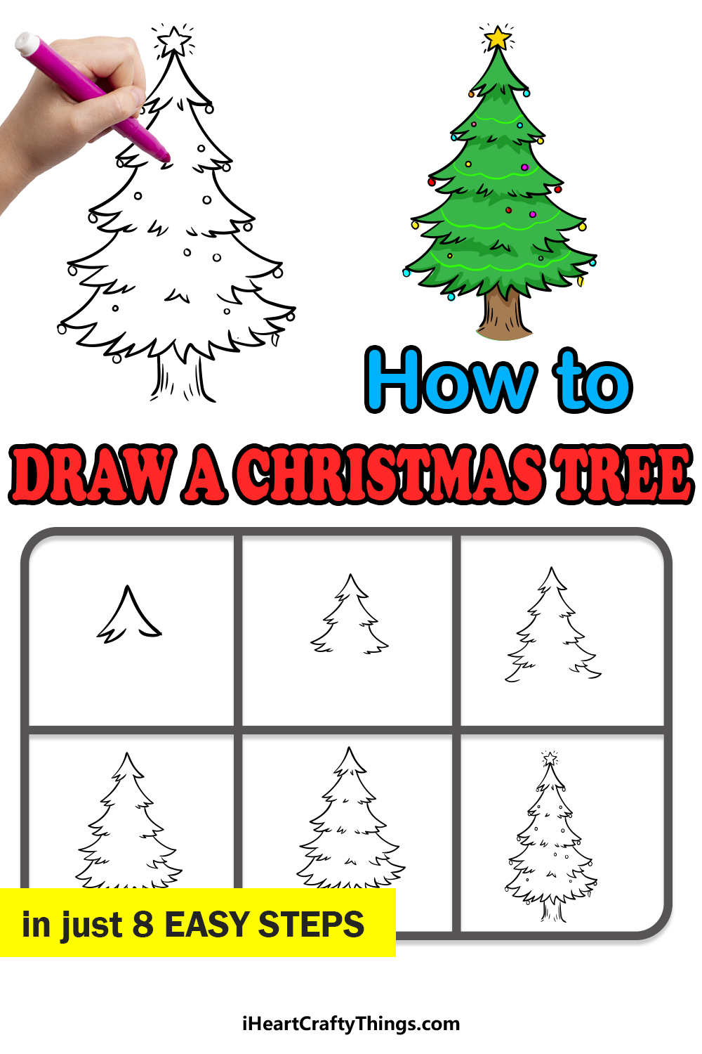 how to draw a christmas tree in 8 easy steps