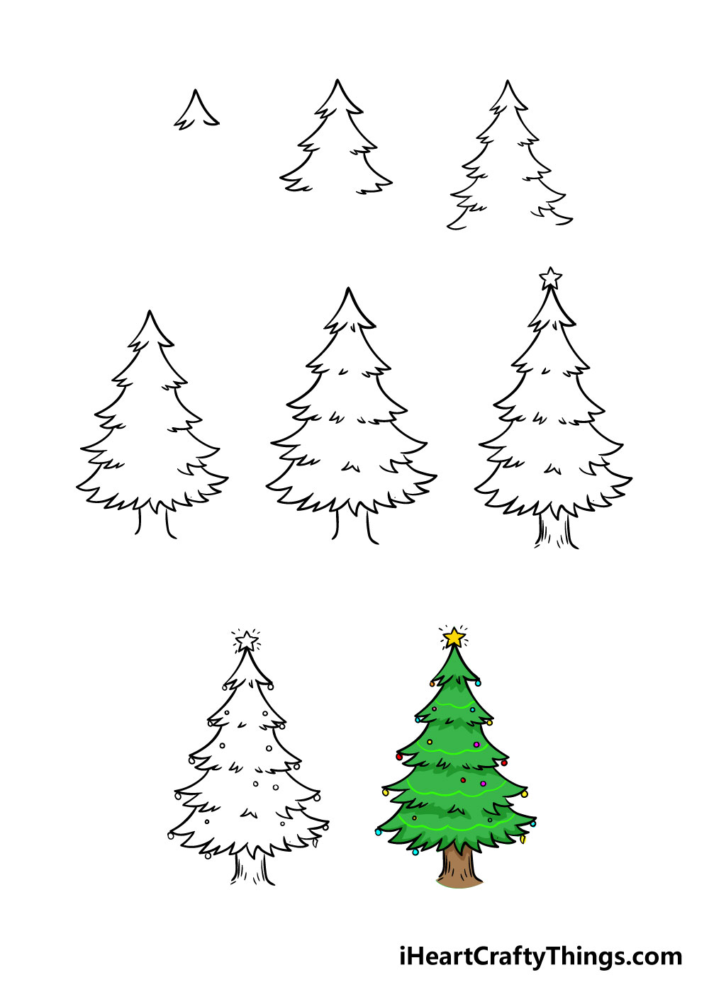 how to draw christmas tree in 8 steps