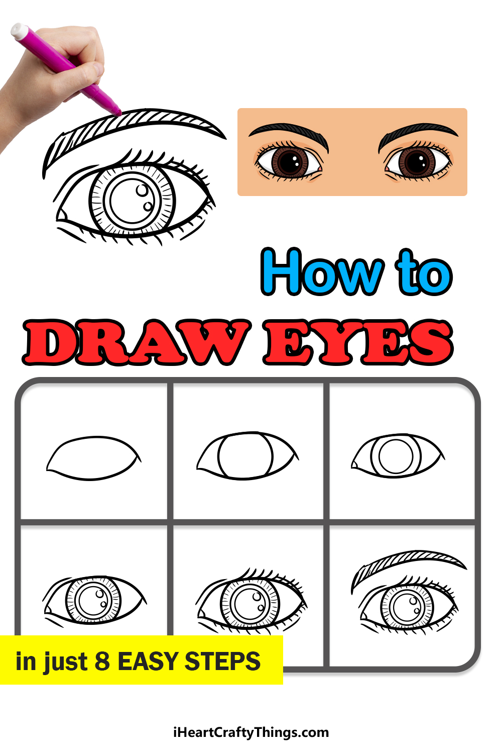 how to draw eyes in 8 easy steps
