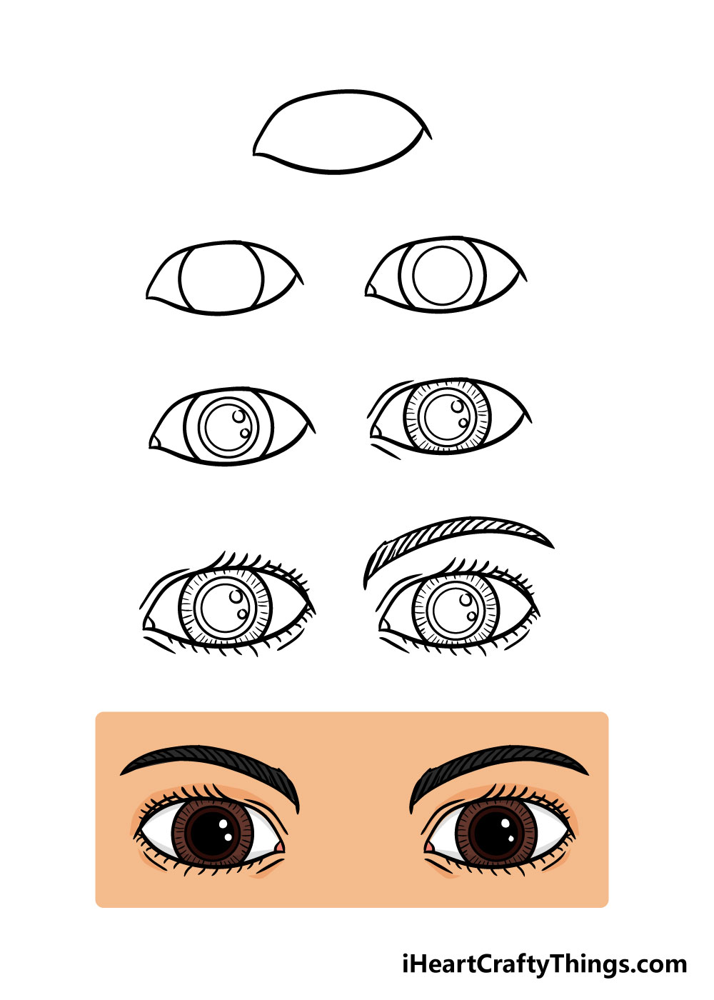 how to draw eyes in 8 steps