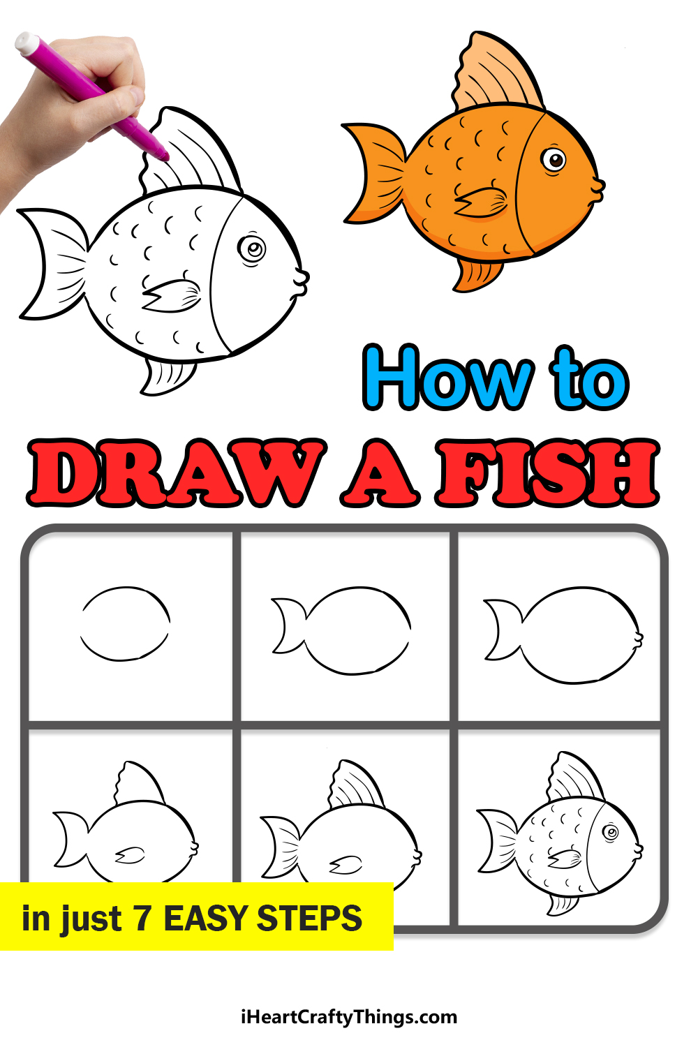 how to draw a fish in 7 easy steps