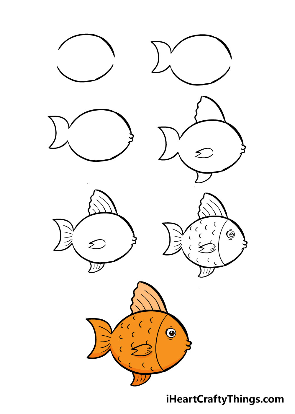 how to draw fish in 7 steps