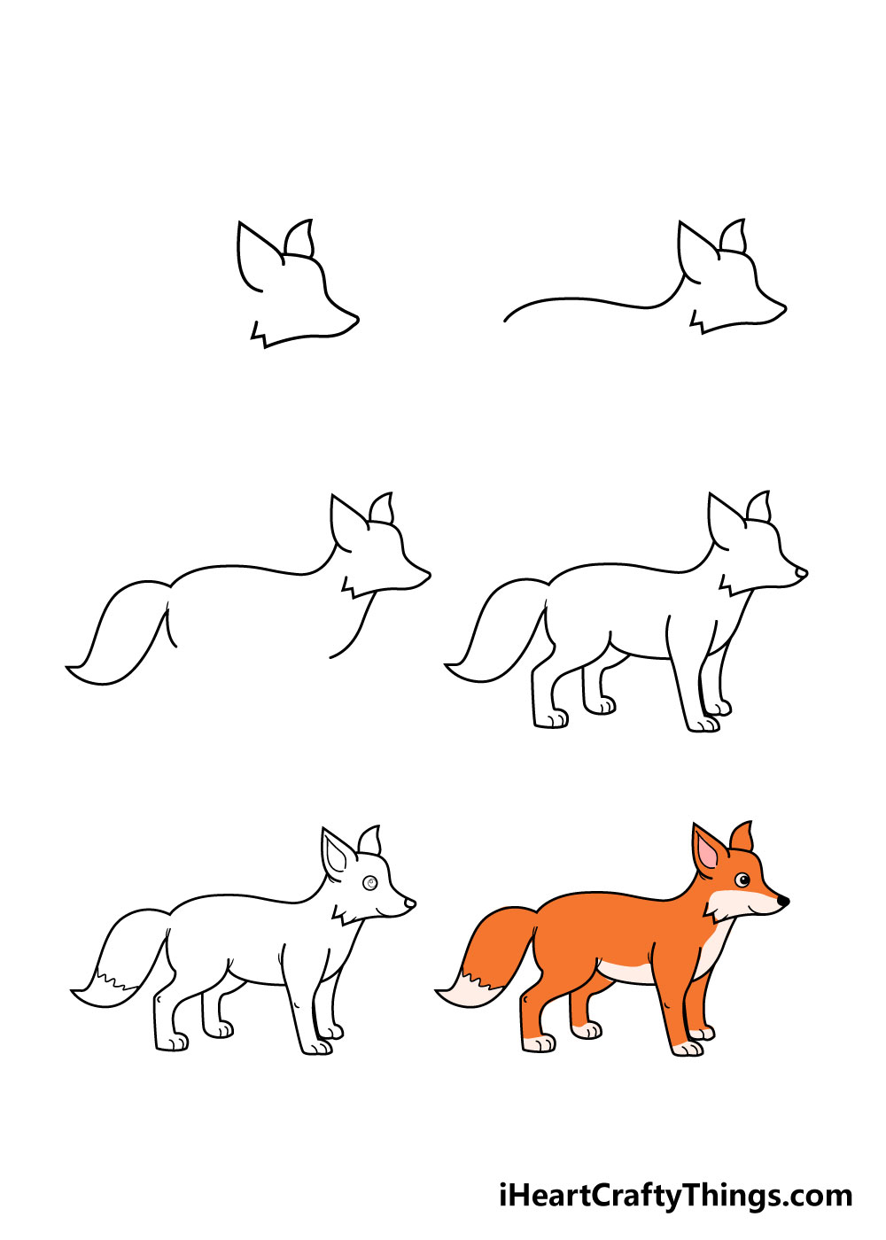 how to draw fox in 6 steps