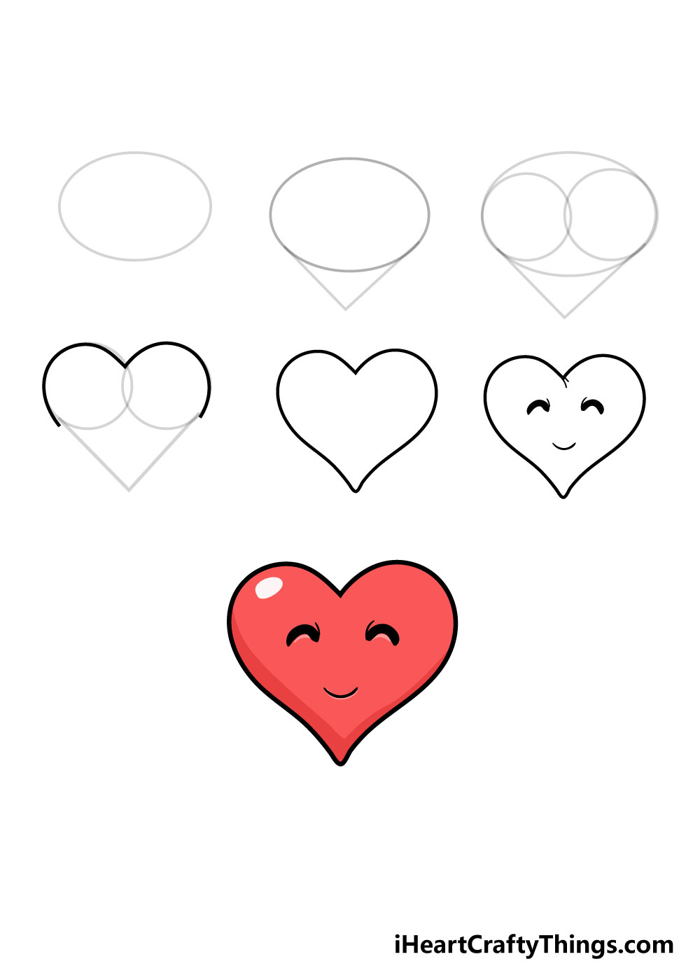 how to draw heart in 7 steps