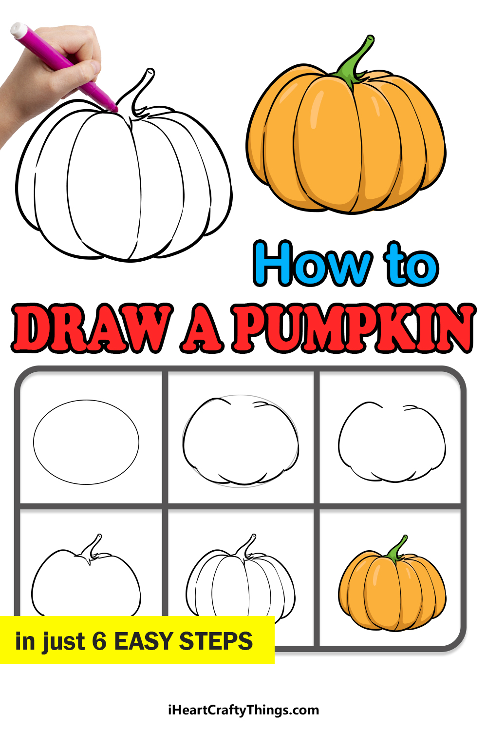 how to draw a pumpkin in 6 easy steps