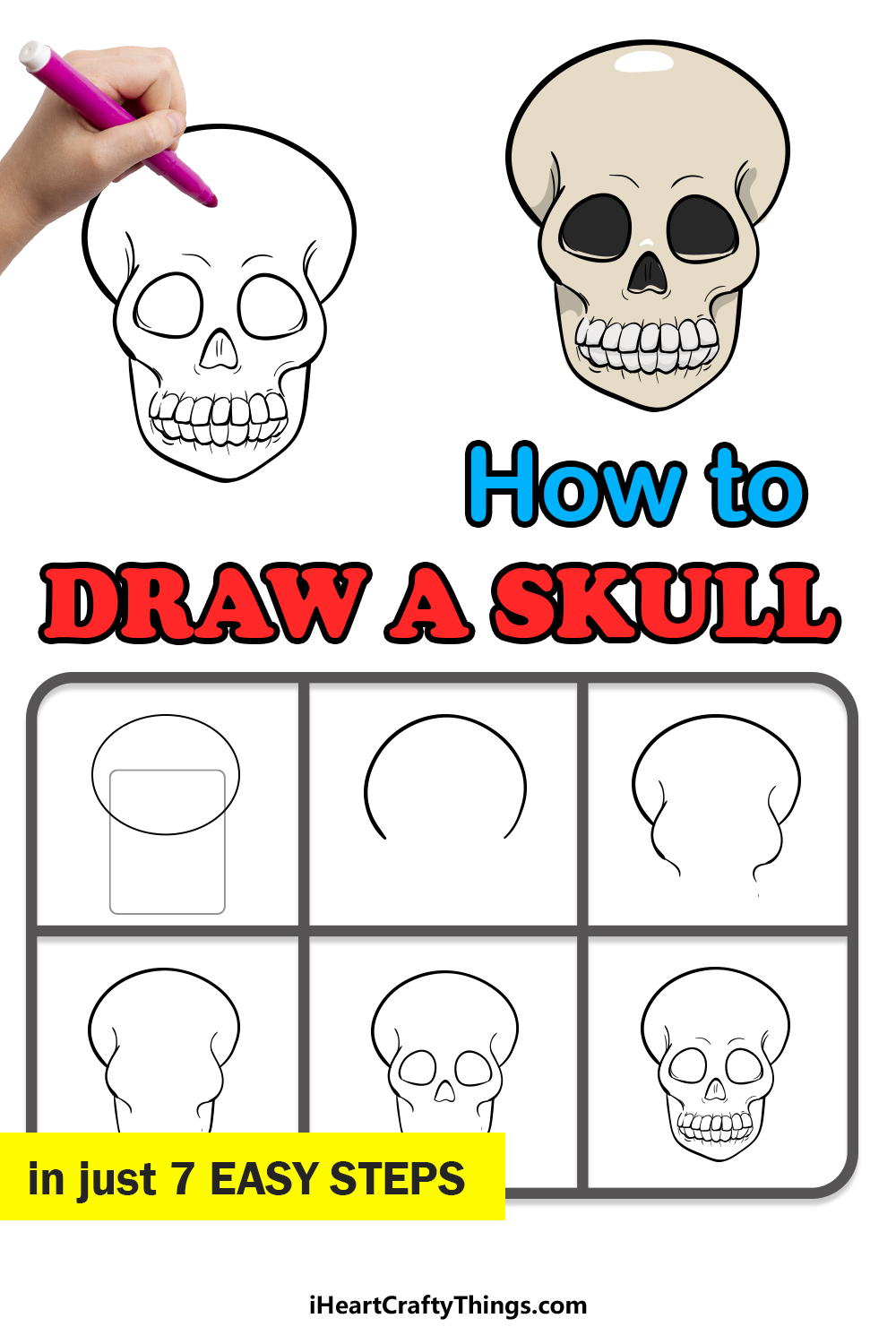 how to draw a skull in 7 easy steps