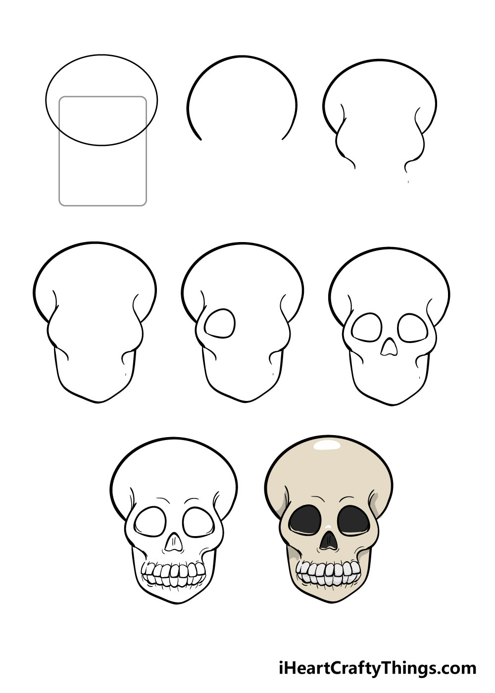 how to draw skull in 8 steps