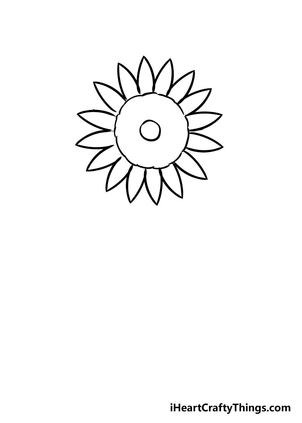 sunflower coloring step 3