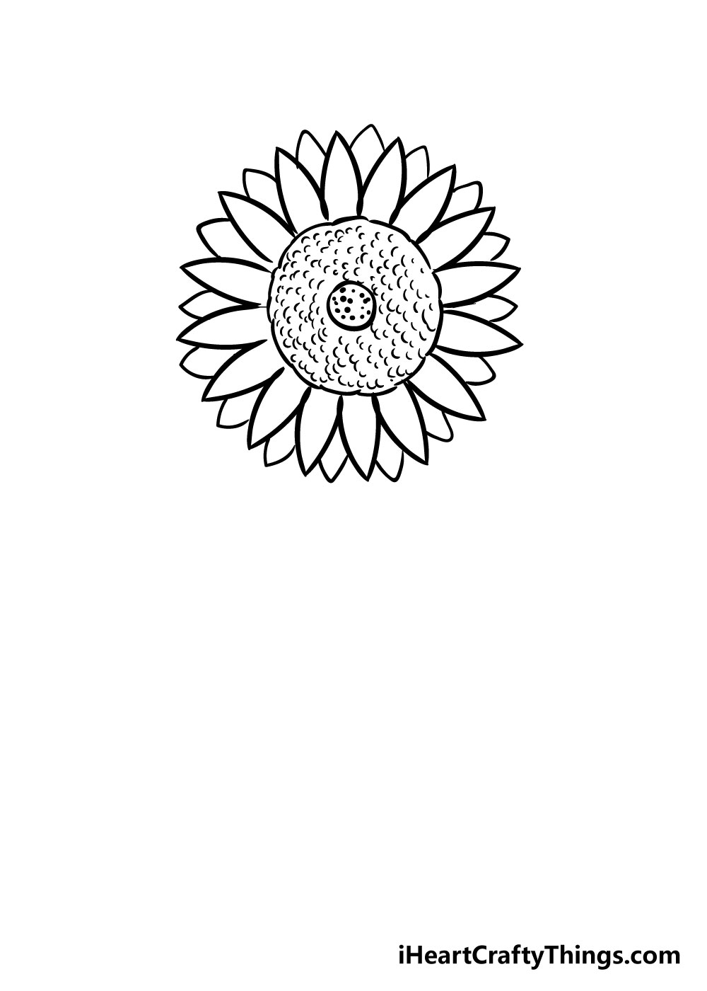 sunflower coloring step 6