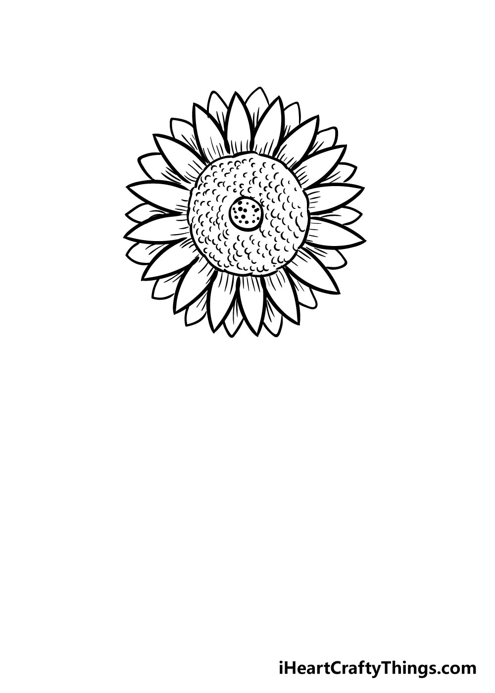 sunflower coloring step 7