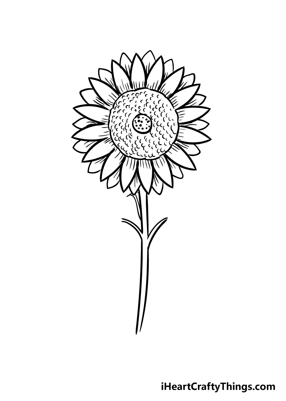 sunflower coloring step 8