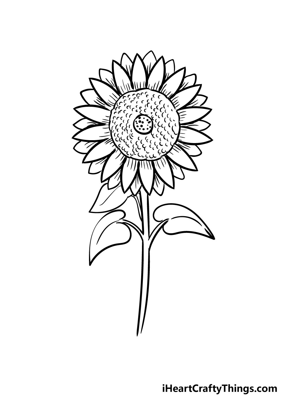 sunflower coloring step 9