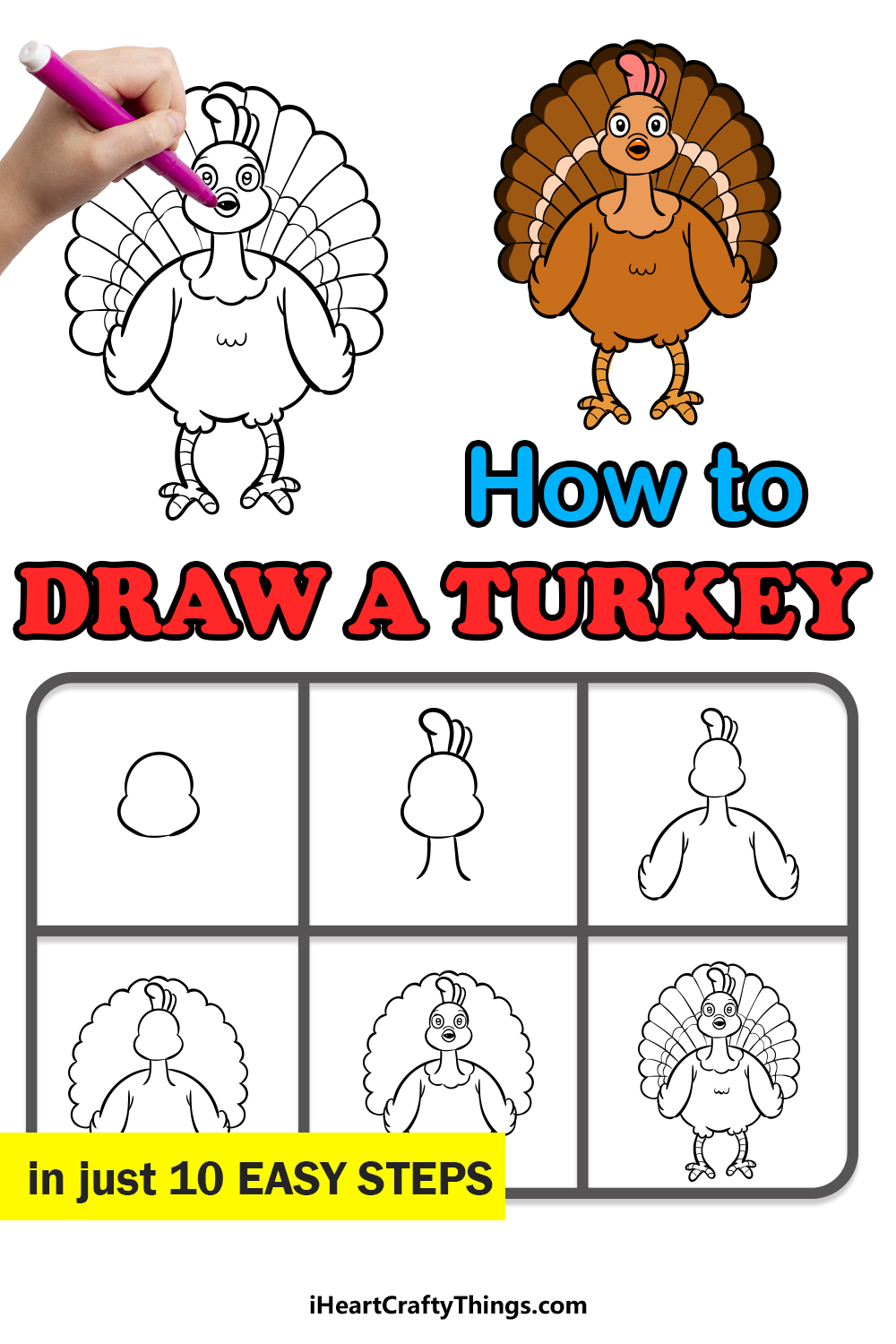 how to draw a turkey in 10 easy steps
