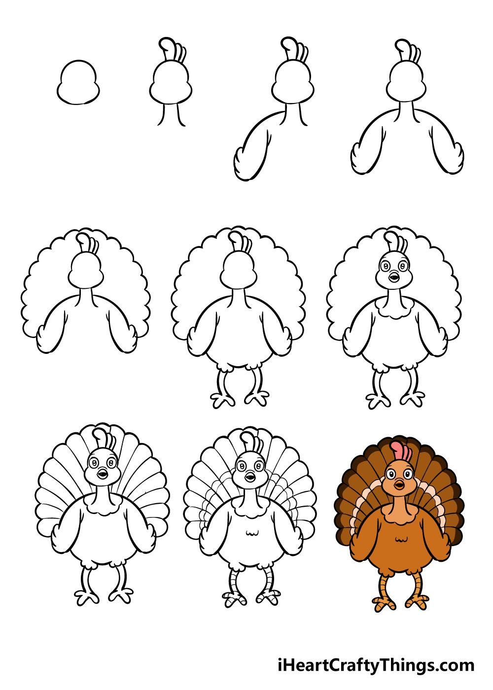 how to draw turkey in 10 steps
