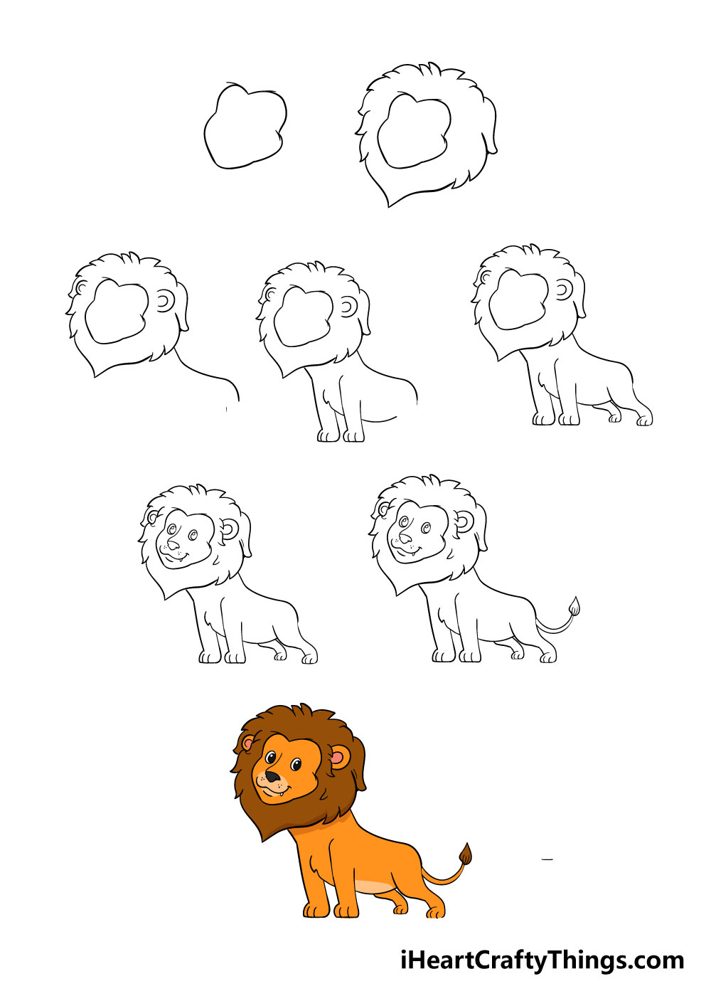 how to draw lion in 8 steps