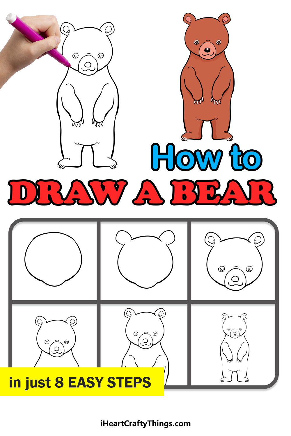 how to draw a bear in 8 easy steps