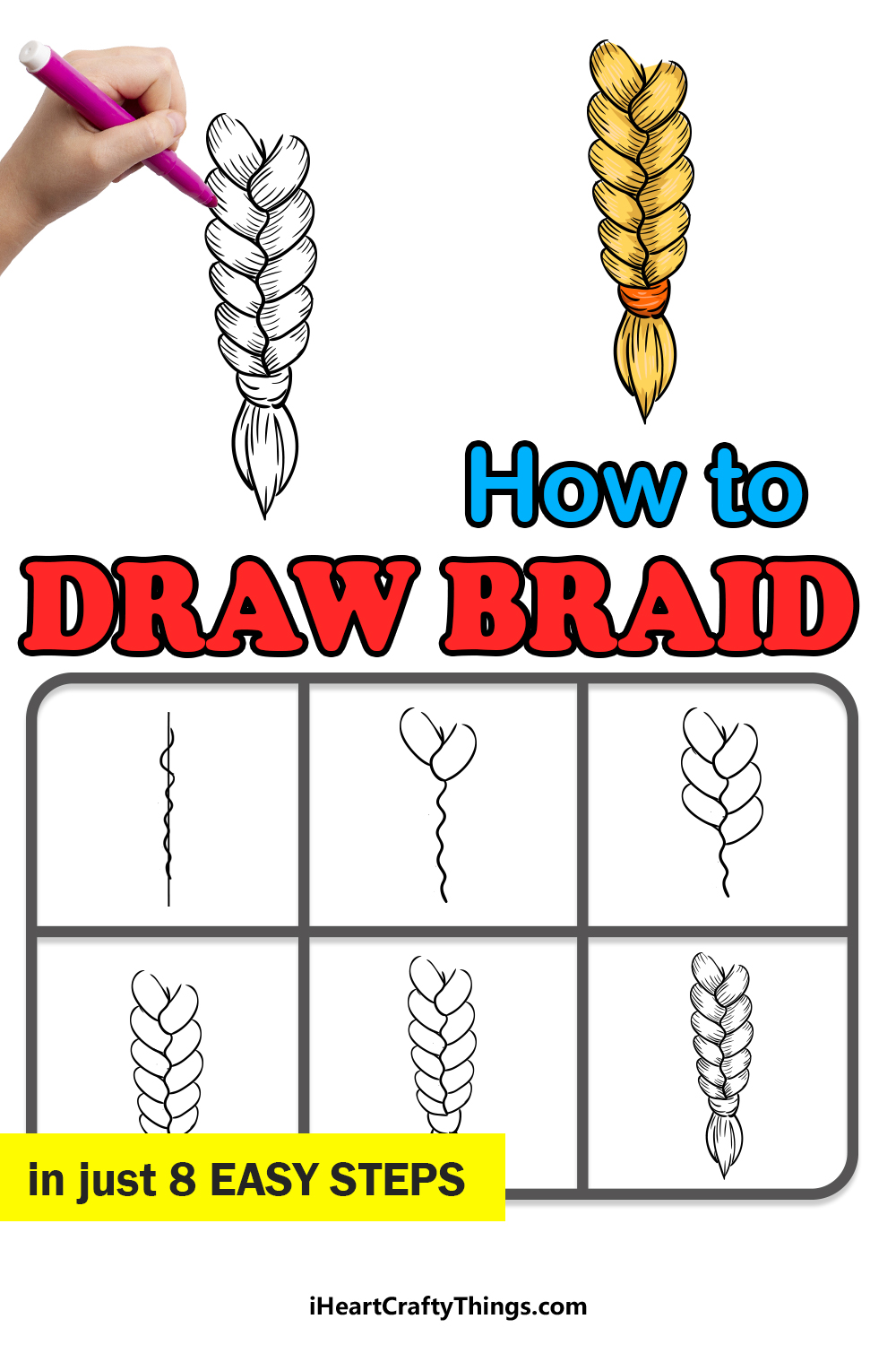 how to draw braid in 8 easy steps