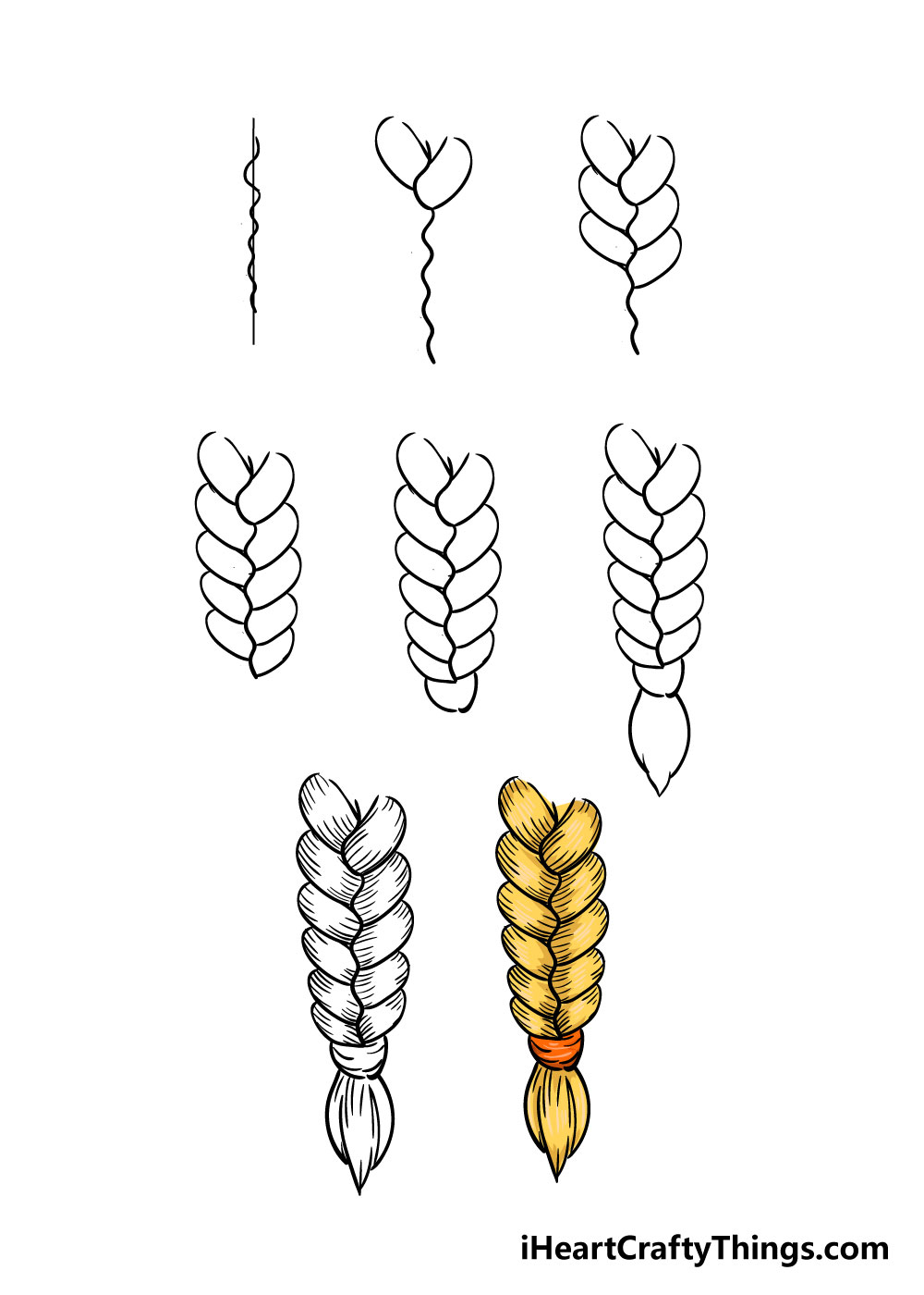 how to draw braid in 8 steps