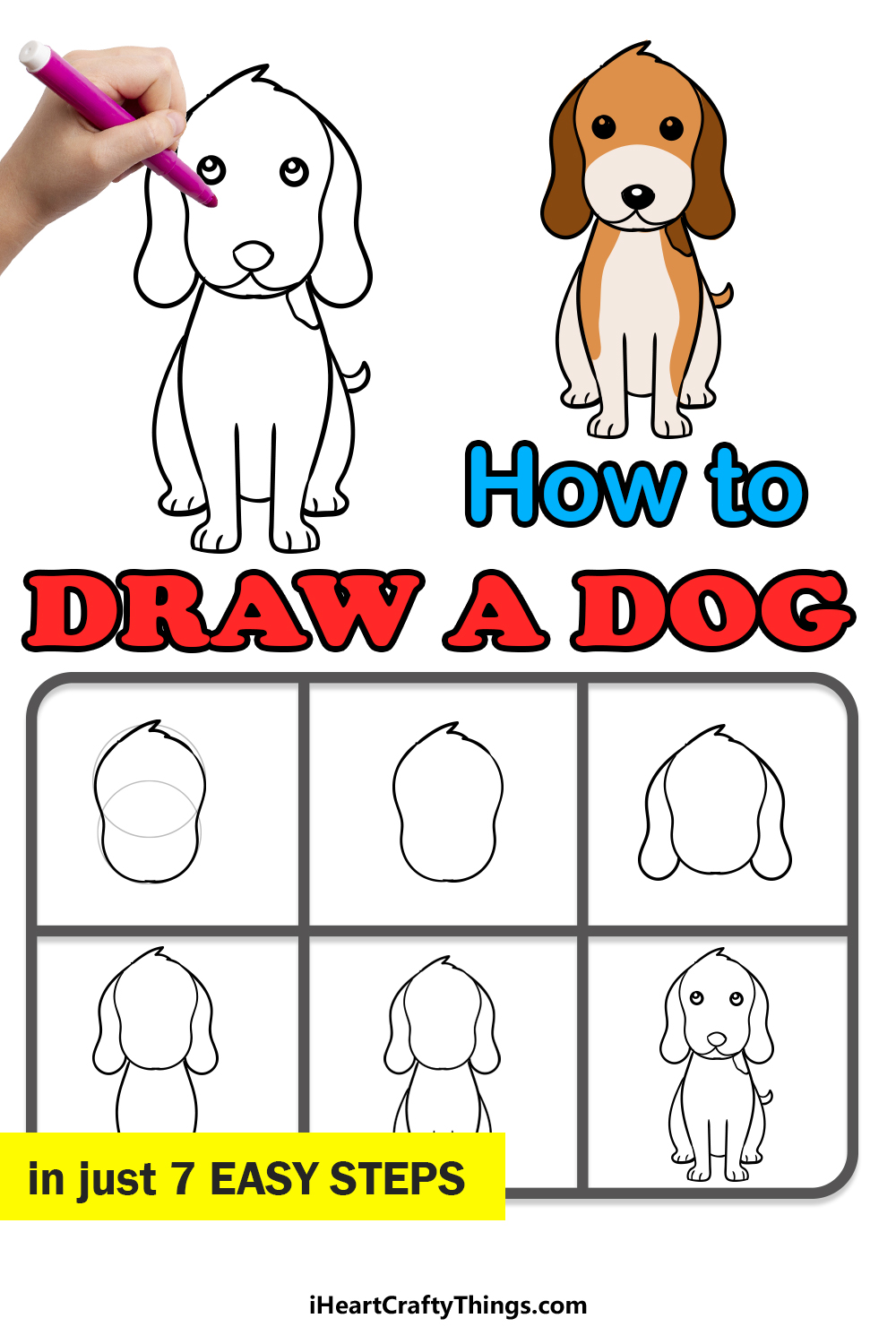 how to draw a dog in 7 easy steps