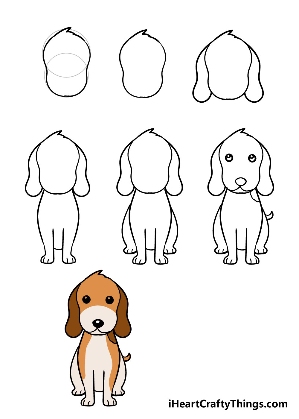 how to draw dog in 7 steps