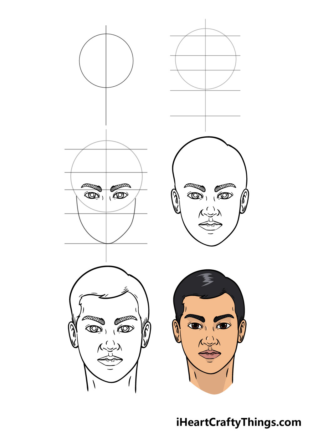 how to draw face in 6 steps