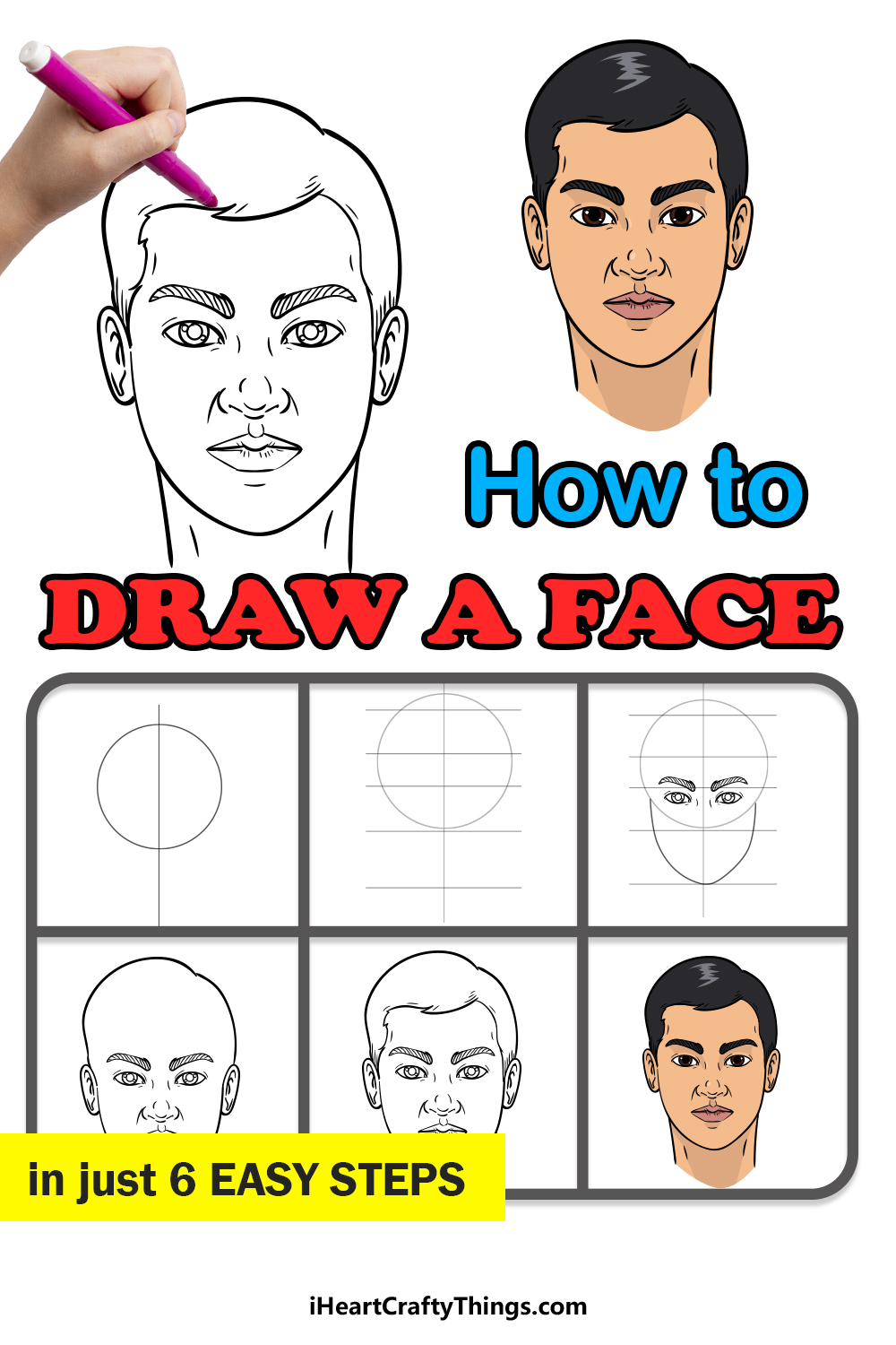 how to draw a face in 6 steps