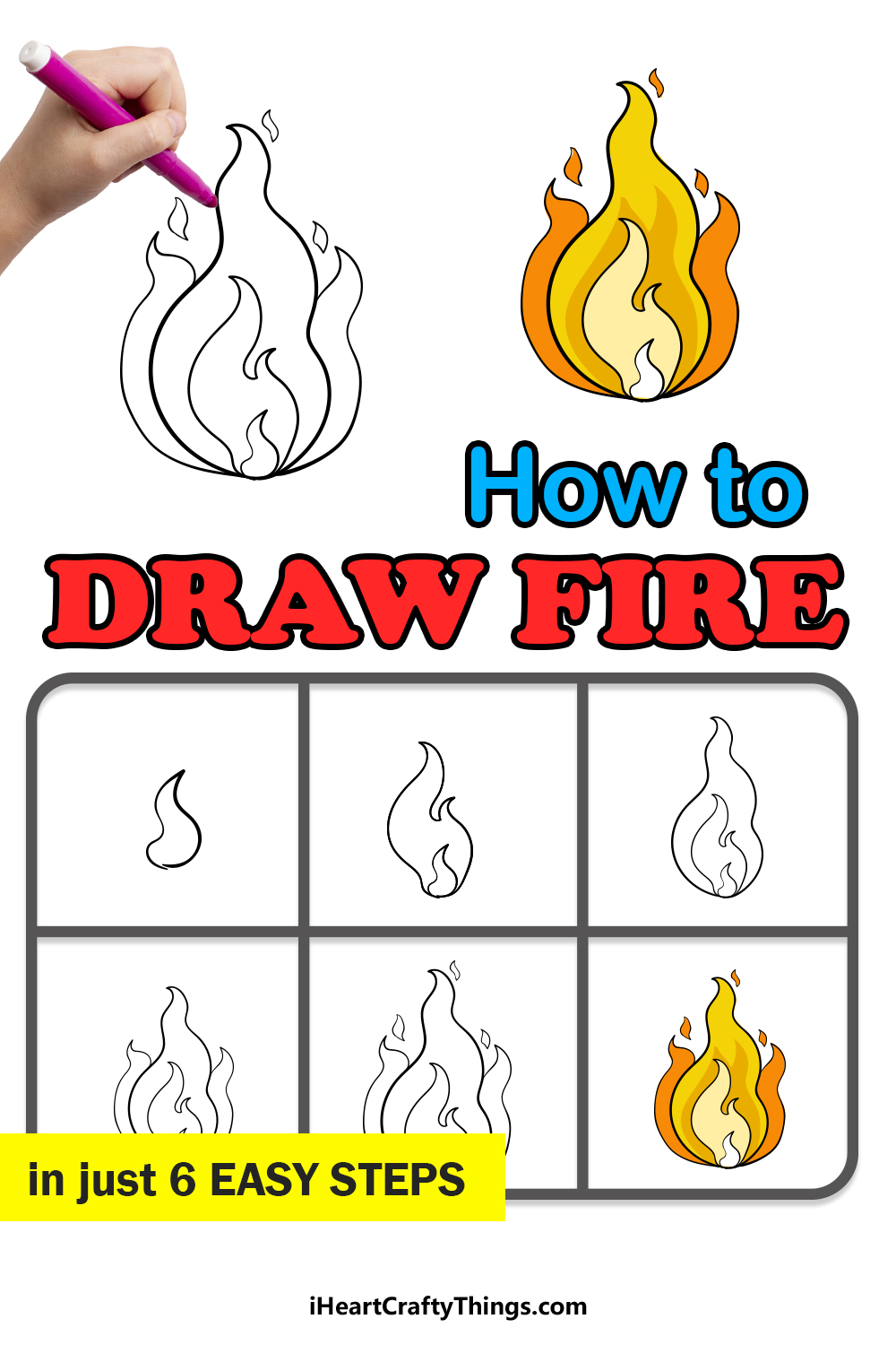 how to draw fire in 6 easy steps