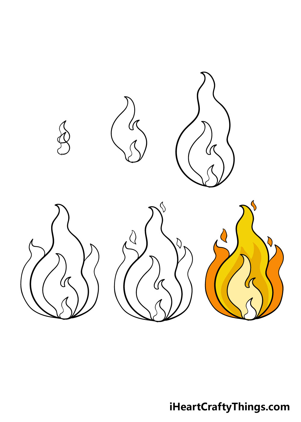 how to draw fire in 6 steps