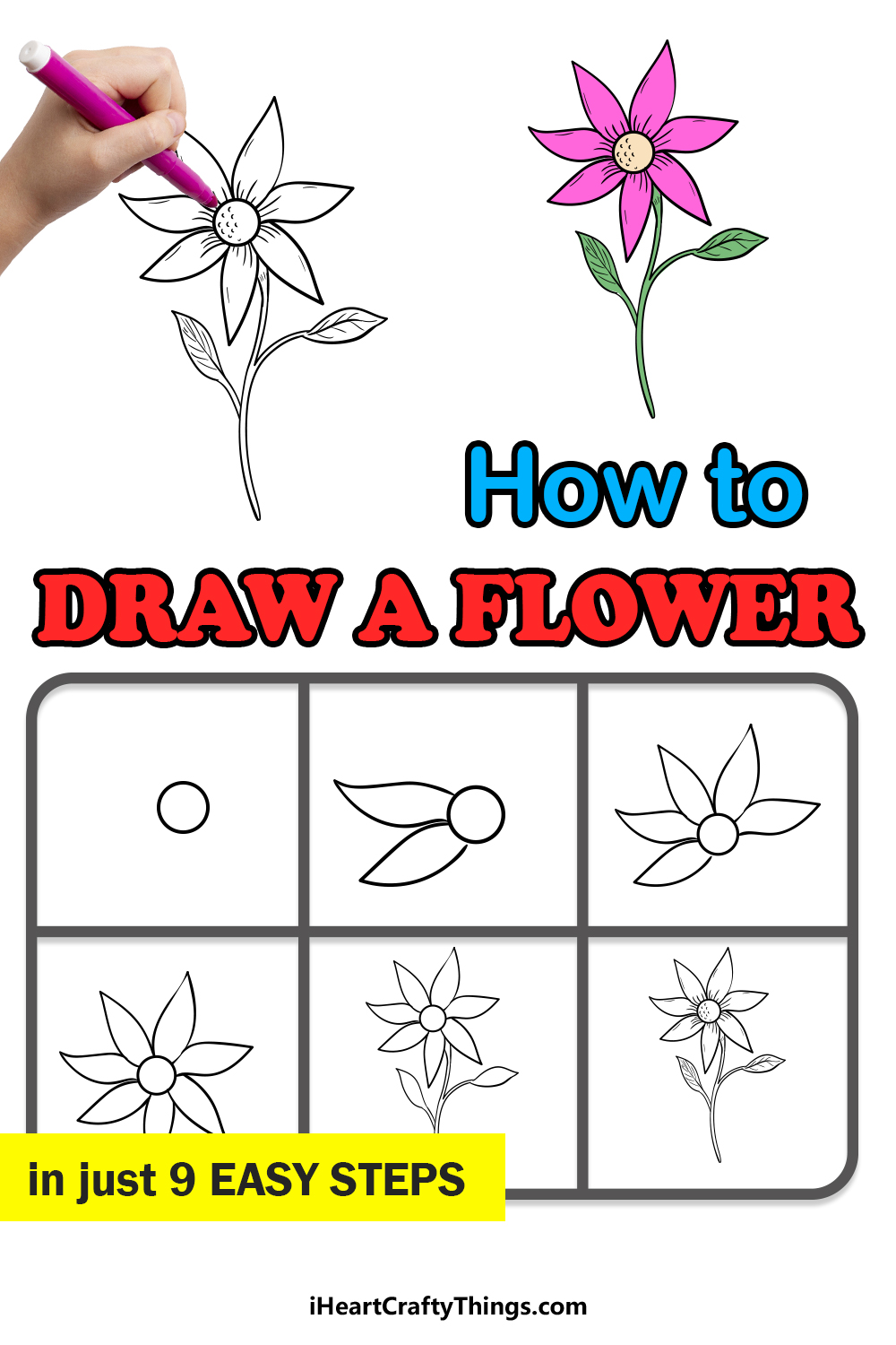 how to draw flower in 9 easy steps